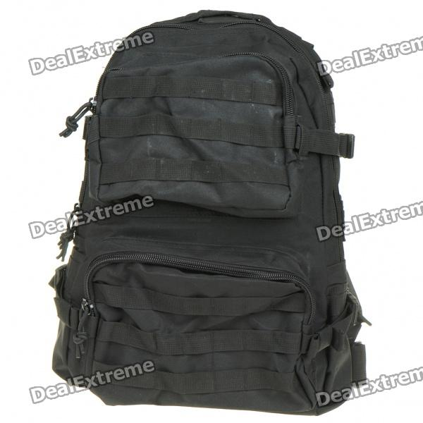 Stylish Military Style Outdoor Travel Sport Backpack Double Shoulder Bag - Black