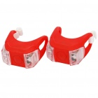 3-Mode 2-LED Red Light Tie-On Bike Light Keychains - Red (Pair / 1 x CR2032)