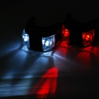 3-Mode 2-LED Red + White Light Tie-On Bike Light Keychains - Black (Pair / 1 x CR2032)