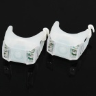 3-Mode 2-LED White Light Tie-On Bike Light Keychains - White (Pair / 1 x CR2032)