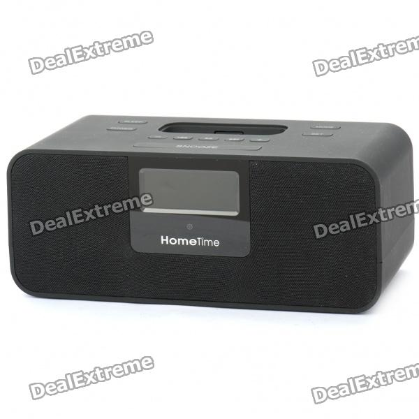 "2.0"" LCD Docking Station Music Speaker MP3 Player w/ FM for iPhone/iPod - Black (2 x AAA)"