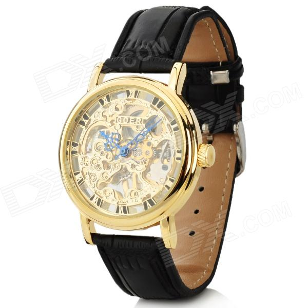 Stylish Retro PU Leather Band Manual-Winding Mechanical Skelton Wrist Watch - Golden + Black