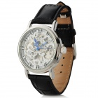 Stylish Retro PU Leather Band Manual-Winding Mechanical Skeleton Wrist Watch - Silver + Black