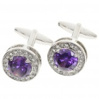Stylish Rhinestone Metal Cuff Links - Silver + Purple (Pair)