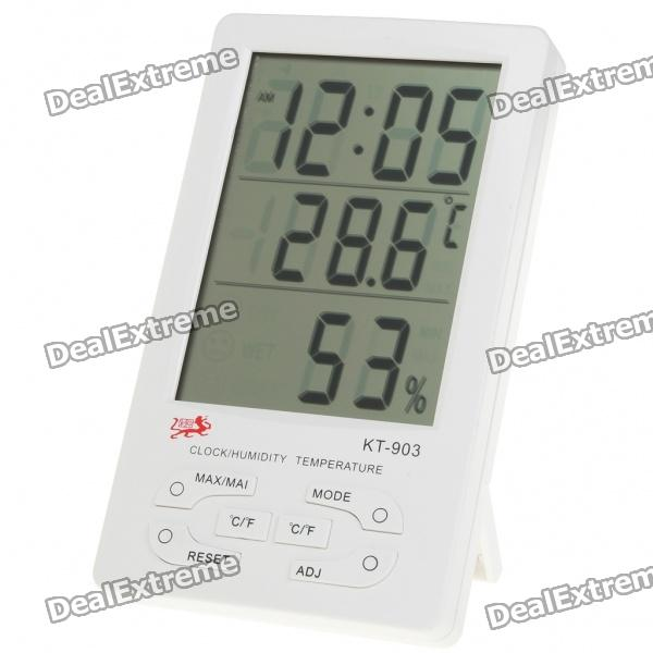 4.5 LCD Thermometer/Humidity Meter - White (1 x AAA) indoor air quality pm2 5 monitor meter temperature rh humidity