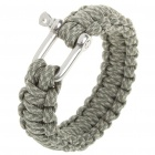 Paracord Survival Bracelet w/ SS Shackle - Grey