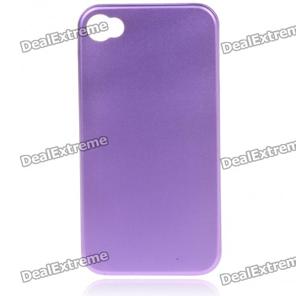 Stylish Protective Aluminum Alloy Back Case for Iphone 4 - Purple
