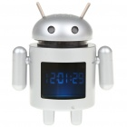 "1.5"" LCD Android Robot Style USB Rechargeable MP3 Player Speaker w/ TF Slot - Silver"