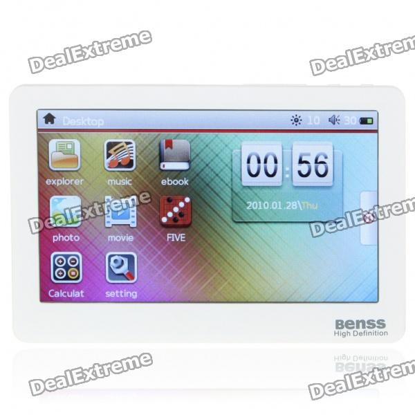 "Benss BX-88 4.3"" Touch Screen AVI/RMVB Portable Media Player w/ TV-Out/TF Slot - White (4GB)"