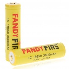 "Protected 18650 Rechargeable ""3600mAh"" Li-ion Batteries - Yellow (Pair)"