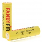 "18650 Rechargeable ""3600mAh"" Li-ion Batteries - Yellow (Pair)"