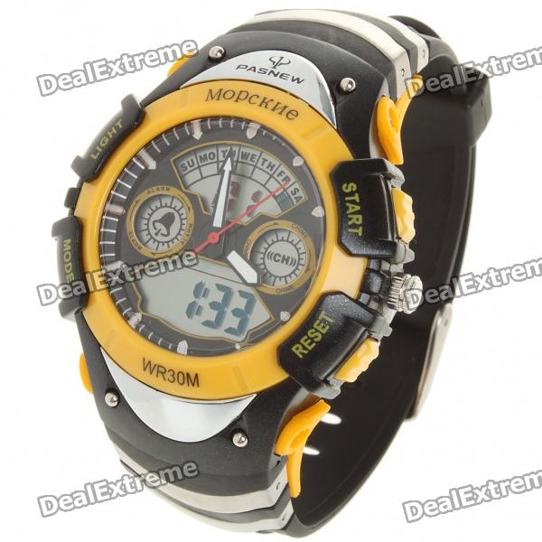 PASNEW Sport Waterproof Quartz Analog Digital Wrist Watch w/ Alarm/Timer (1 x R2016)