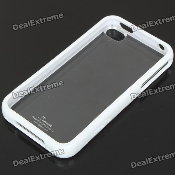 Stylish Protective Back Case w/ Screen Guard & Cleaning Cloth for iPhone 4 - White + Black