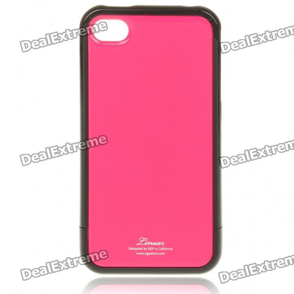Stylish Protective Back Case w/ Screen Guard & Cleaning Cloth for iPhone 4 - Rose Red + Black