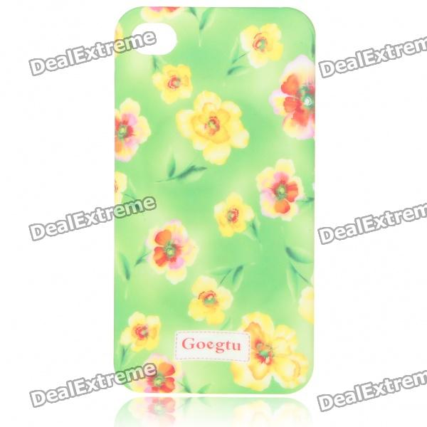 Lacquered Shell Goegtu Flower Style Protective ABS Back Case for Iphone 4