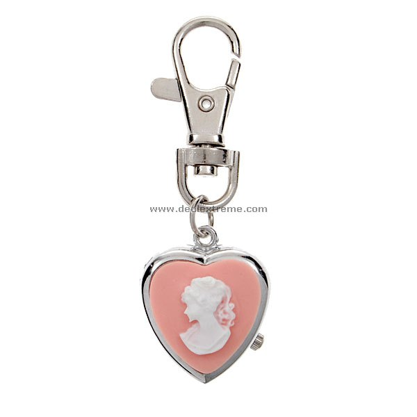 Heart Shaped Pink Keychain Quartz Watch