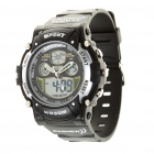 PASNEW Sport Waterproof Quartz Analog Digital Wrist Watch w/ Alarm/Timer - Black (1 x R2016)