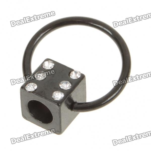 1.0mm 316L Surgical Steel Rhinestone Ear Body Piercing Ring - Black