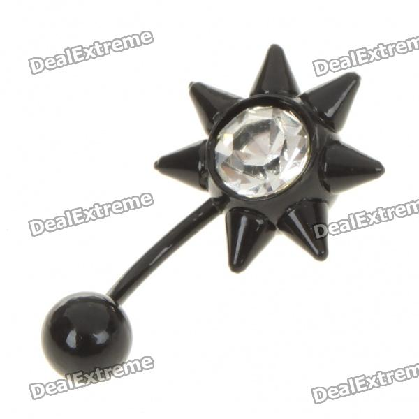 1.0mm 316L Surgical Steel Curved Rhinestone Ear Body Piercing Ring - Black surgical steel multi function body piercing ring