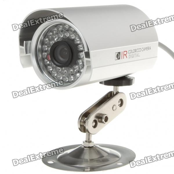 1/4 CCD Wired Surveillance Security Waterproof Camera w/ 36-IR LED Night Vision - Silver 1 3 ccd waterproof surveillance security camera w 36 ir led night vision purple