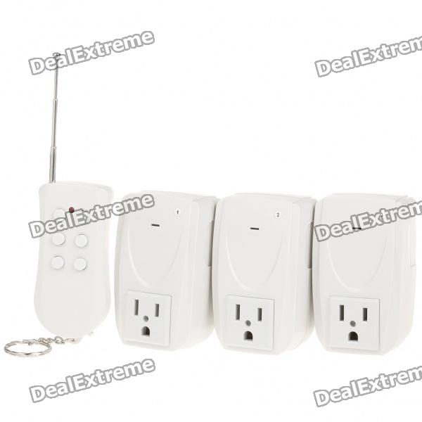3-Channel Wireless Remote Controlled AC Power Adapters Set (110V/US Plug)