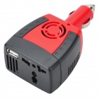 150W Car DC 12V to AC 220V Power Inverter with USB Port - Red + Black