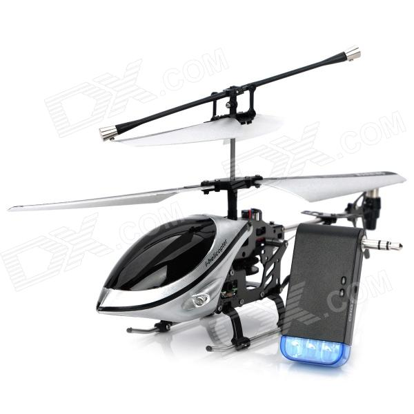 Iphone/Ipod Touch/Ipad Controlled Rechargeable 3-CH R/C I-Helicopter w/ Gyroscope - Silver + Black