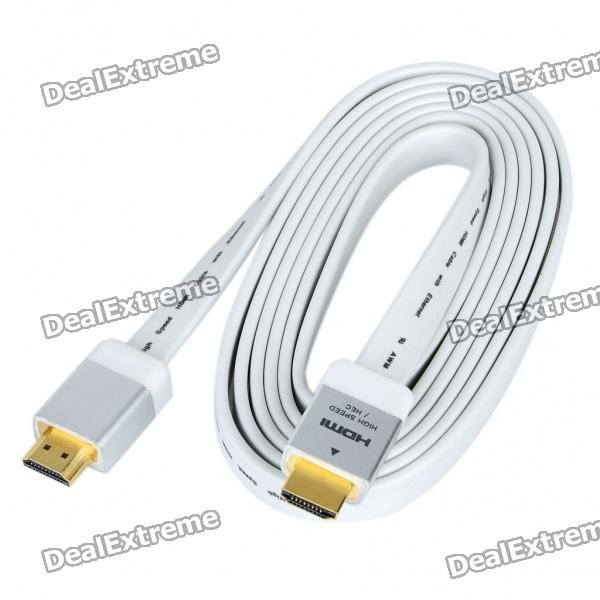 Gold Plated HDMI M-M Flat Connection Cable - White + Silver (188CM-Length)