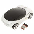Car Style 2.4GHz 1200DPI Wireless Optical Mouse with USB Receiver - White + Black (2 x AAA)