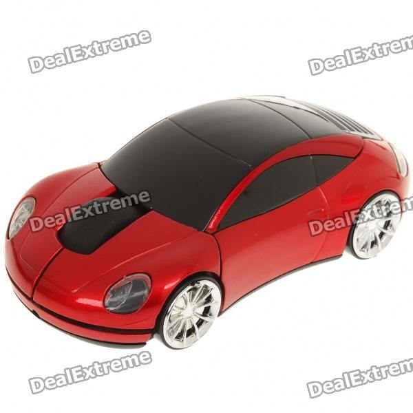 Car Style 2.4GHz 1200DPI Wireless Optical Mouse with USB Receiver - Red + Black (2 x AAA) car shaped usb 2 0 optical mouse red 120cm cable
