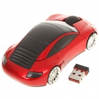 Car Style 2.4GHz 1200DPI Wireless Optical Mouse with USB Receiver - Red + Black (2 x AAA)