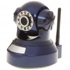 300KP Wireless Wi-Fi/LAN Surveillance IP Camera w/ 10-LED IR Night Vision - Blue