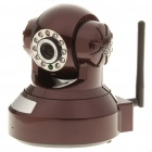 300KP Wireless Wi-Fi/LAN Surveillance IP Camera w/ 10-LED IR Night Vision - Coffee