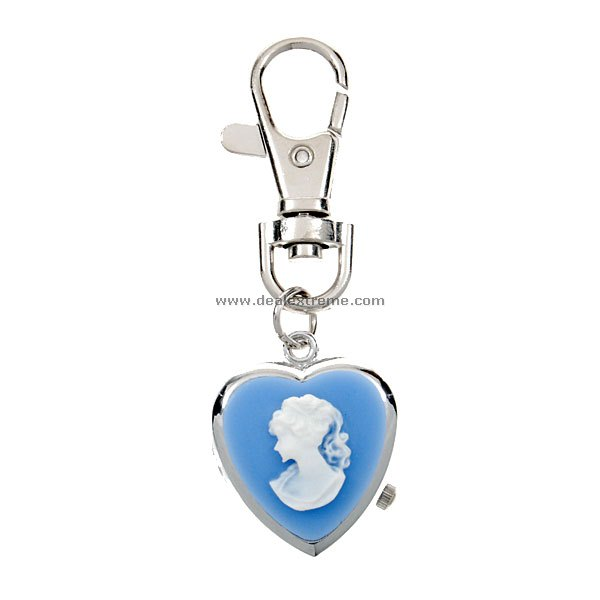 Heart Shaped Blue Keychain Watch