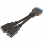 Mainboard 20-Pin to Dual USB 3.0 AF Adapter Cable (15CM-Length)
