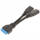 Placa Base 20-Pin a Dual USB 3.0 Cable adaptador AF (15 cm de longitud)