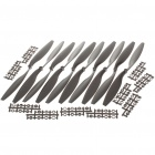 Nylon 12 x 4.5 Propellers for Quadcopter - Black (5-Pair)