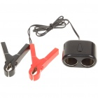 Cigarette Lighter Dual-Socket with Alligator Battery Clamps Cables