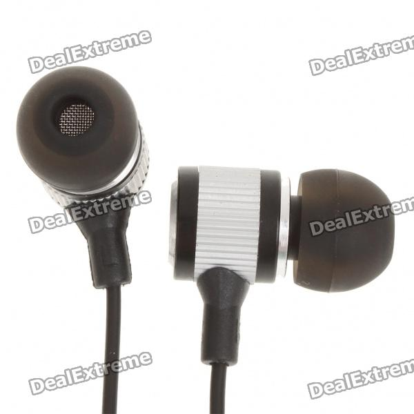 Stylish In-Ear Earphone with Earbuds - Black + Silver (3.5mm Jack/120cm-Cable) original senfer dt2 ie800 dynamic with 2ba hybrid drive in ear earphone ceramic hifi earphone earbuds with mmcx interface