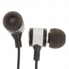 Stylish In-Ear Earphone with Earbuds - Black + Silver (3.5mm Jack/120cm-Cable)