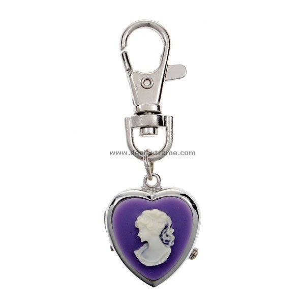 Heart Shaped Purple Keychain Watch
