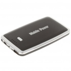 Rechargeable 5000mAh Mobile Emergency Power Battery with Charging Adapters - Black + Silver