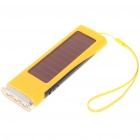 Solar Powered 800mAh Portable Power Pack w/ 3-LED White Light & Charging Adapters - Yellow