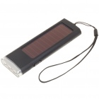 Solar Powered 800mAh Portable Power Pack w/ 3-LED White Light & Charging Adapters - Black
