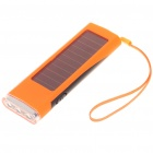 Solar Powered 800mAh Portable Power Pack w/ 3-LED White Light & Charging Adapters - Orange