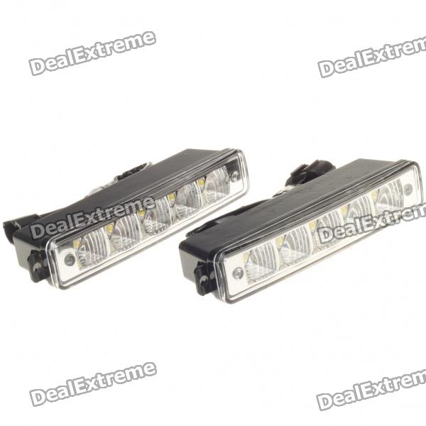 5W 5-LED White Light Daytime Running Lamps for Car (Pair/DC 12V)