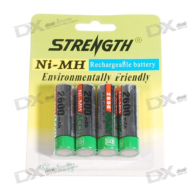 RB 2600mAh Ni-MH Rechargeable AA Batteries (4-Pack) energizer max alkaline batteries aa 8 batteries pack