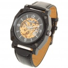Stylish Genuine Leather Band Mechanical Wrist Watch - Black