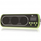 "1"" LED Mini Portable MP3 Music Speaker with FM/USB/SD/AUX - Green + Black"