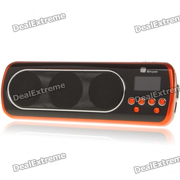 1 LED Mini Portable MP3 Music Speaker with FM/USB/SD/AUX - Orange + Black stylish portable mp3 music speaker with fm radio sd slot usb host multi color led white